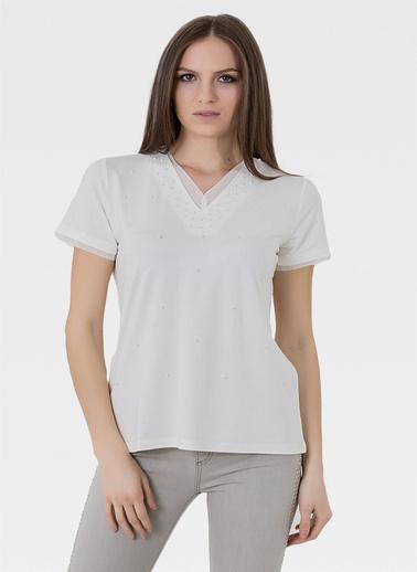 Optique Knitwear Düz V Yaka Kısa Kol Penye Bluz Ekru